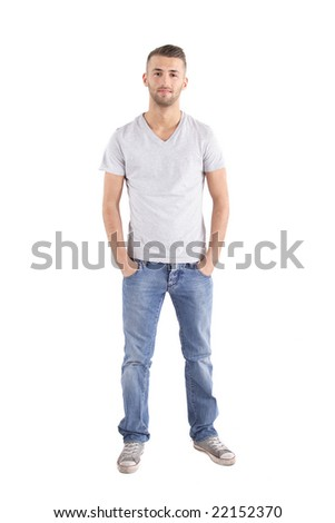 A handsome man standing in front of a white background Stockfoto ©