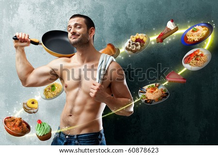 A handsome muscular cook posing with a pan on his shoulder on a textured backgroung with food floating all around into a circle of lights