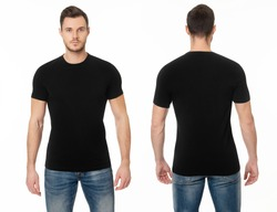 A handsome muscular guy in a black t shirt. Mockup of a template of a black man's t-shirt on a white background. Front view, rear view.