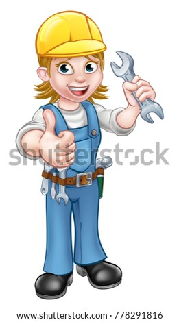 A handyman plumber or mechanic cartoon character holding a spanner and giving a thumbs up