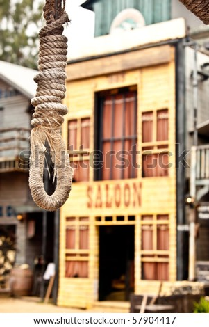 A hang rope in front of the saloon.
