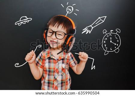 A happiest  Little kid boy Learning