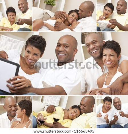 A happy African American man and woman couple in their thirties sitting at home, relaxing, drinking wine, playing video games and watching television