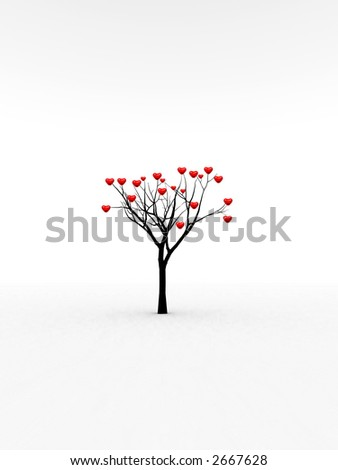 A happy and loving set of heart's growing from a tree for abstract romantic concepts.