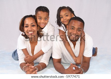 A happy and secure African American family