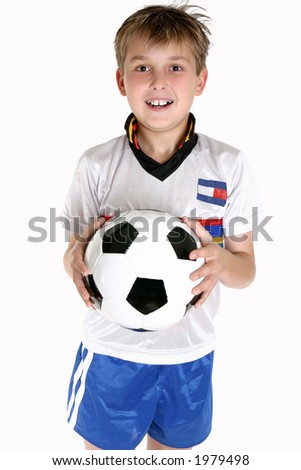 A happy child holding a soccer ball.