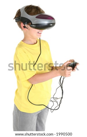 A happy child playing a virtual reality game.