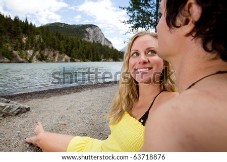 A happy couple on a holiday in Banff, Canada