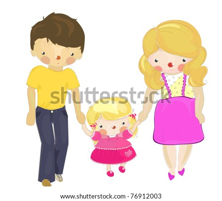 a happy family: father, mother, daughter, cartoon illustration