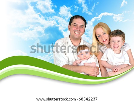 A happy family is wearing white and there are nature clouds in the background. There is a green swirl wave to add your text under. Use it for a header for a health, parenthood or lifestyle concept.