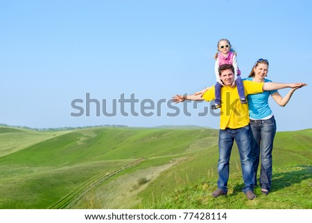 A happy family on the hill