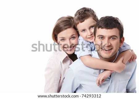 A happy family on white background - stock photo