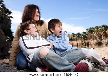 A happy family playing