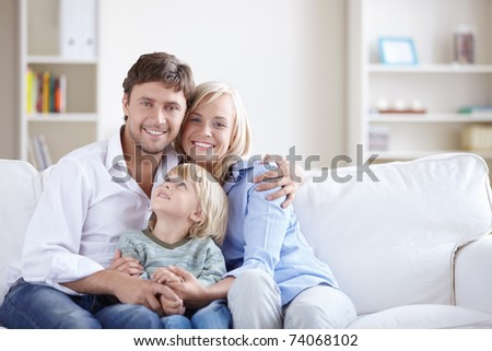 A happy family with a child
