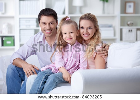 A happy family with a child at home