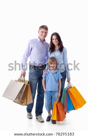A happy family with a child on a white background