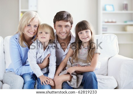 A happy family with two children