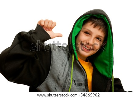 A happy hip-hop dancer; isolated on the white background