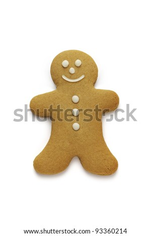 A happy isolated gingerbread man