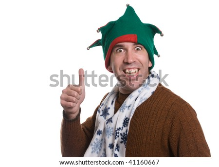 A happy man giving a thumbs up while wearing  an elf hat and a white scarf, isolated against a white background