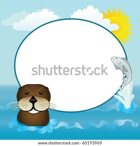 A happy otter and jumping fish with a sunny water frame.
