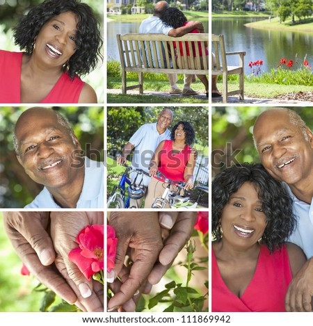 A happy senior African American couple together outside, active retirement in the summer sunshine