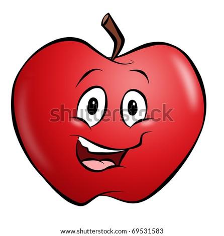 A happy smiling cartoon apple.