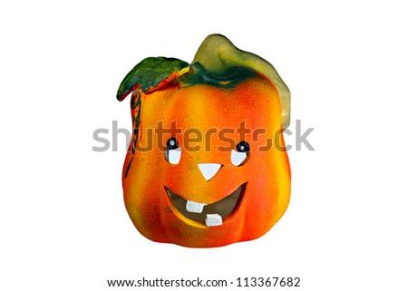 A happy toothy halloween pumpkin lantern