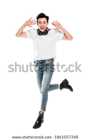 A Happy young man jump Foto stock ©