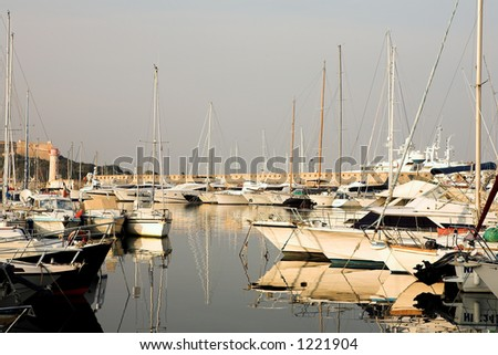 A harbor  in Antibes, France.    Copy space.