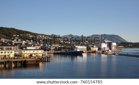 A harbor of Harstad city in Norway #760154785