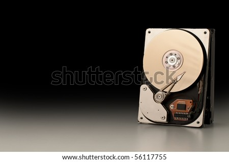 A hard disk isolated on black background