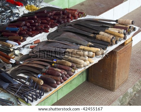 a hardware stall in the peoples market of munnar town south India