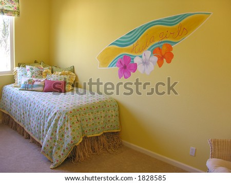 stock photo a hawaiian themed bedroom with a surfboard painted on the