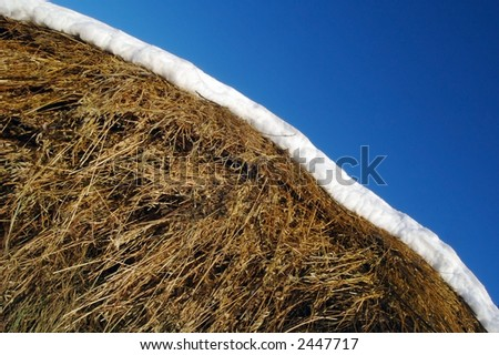 a hay is snow and sky