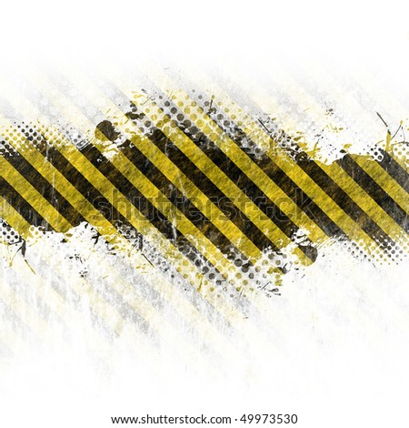 A hazard stripes background with grungy splatter isolated over white.