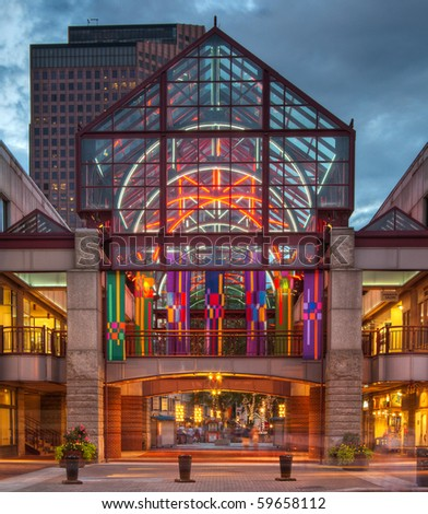A HDR photo of the entrance to Quincy Market in Boston at sunset - stock photo
