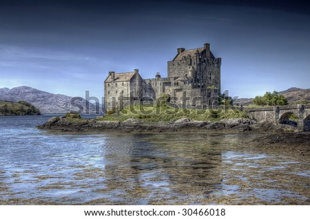 A hdri photography of the Eilean Donan Castle in Scotland