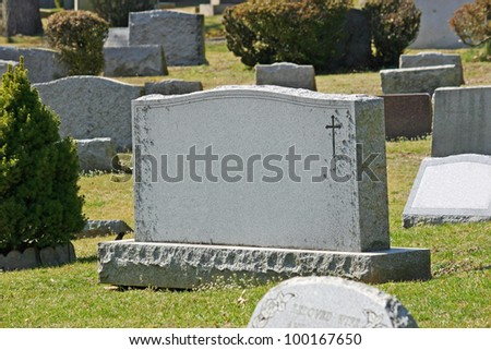 a headstone in a cemetery in...