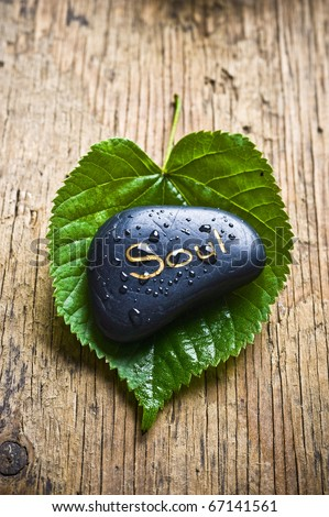 a healing stone with the word soul lying on a green leaf over an old wood like a concept of care about our spiritual side with natural source