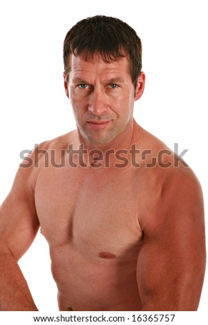 A Health Looking Male in 40s with Strong Muscle on Isolated White Background
