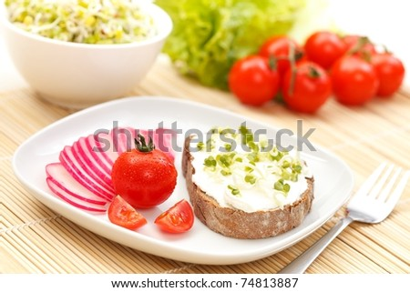 A healthy breakfast- bread, cream cheese, germ and vegetables