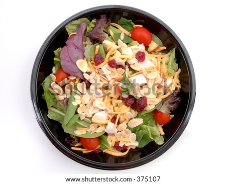 A healthy fast food salad. (Isolated, 12MP camera)