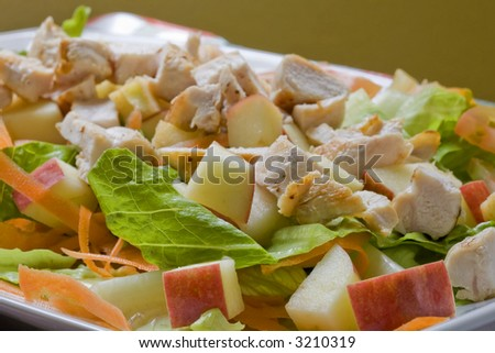 A healthy fast food salad with apple and grilled chicken