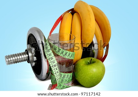 A healthy food and sports on a white background