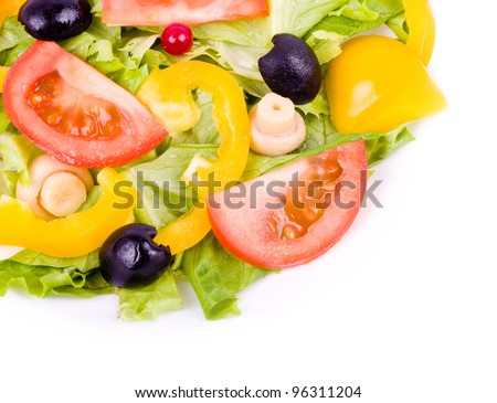 A healthy meal - salad with green salad and vegetable - stock photo