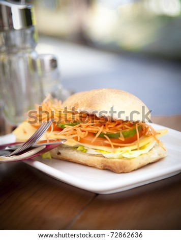 A healthy sandwich presented at a white dish, a healthy meal for a diet.