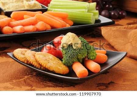 A healthy snack plate with crackers, broccoli, carrots, and greek style hummus Photo stock ©