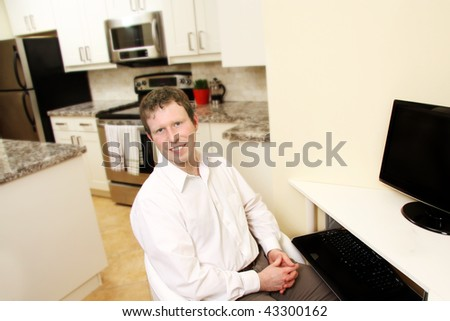 a healthy young man in home office