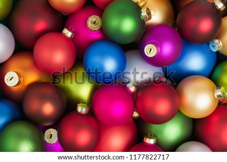A heap of colorful christmas baubles lying on the floor. #1177822717
